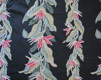 1 yard of Black Green Red Tropical Floral Fabric