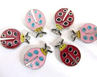 6 pieces  Enamel PINK and RED LADYBUG Charm Pendants