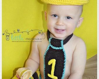 First Birthday Boy Hat, Necktie, and Shorts Outfit, Cake Smash, Boy Birthday, 1st Birthday, Birthday Photo Prop