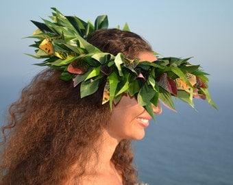 Ti leaf and greenery mix Tahitian hei upo'o