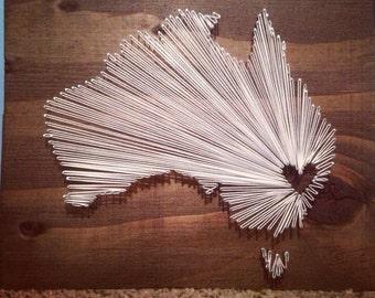 10 x 10 Country String Art - Australia