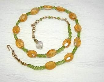 Citrine, Peridot, Amethyst, Necklace and Earring Set, 14k Gold Filled Clasp. Gemstone jewelry, demi parure, sunny meadow in spring