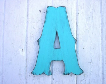 """Wooden Letters A, 12"""" Decorative Painted Aqua Green, Rustic decor Shabby chic Nursery Letters Big Alphabet Letters"""