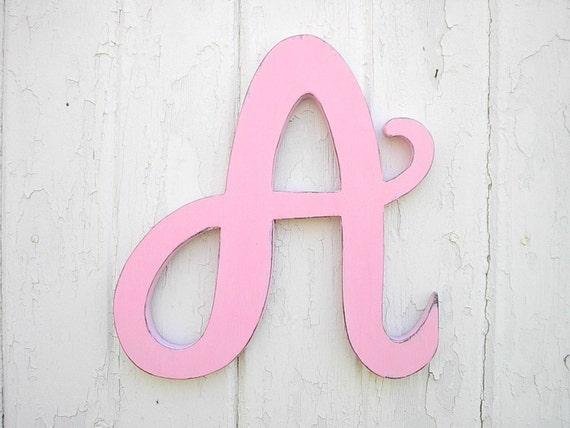 wooden letters a 12 light pink feminine font baby girl ig letter alphabet monogram nursery