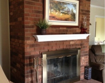 "48"" White Fireplace Mantle Shelf with Crown and Rope Molding"
