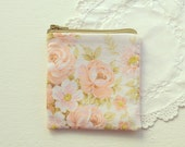 SALE: Small Coin Purse - Vintage Pink Floral