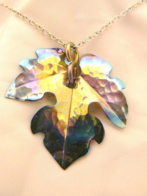 Pendant, Leaf, Titanium