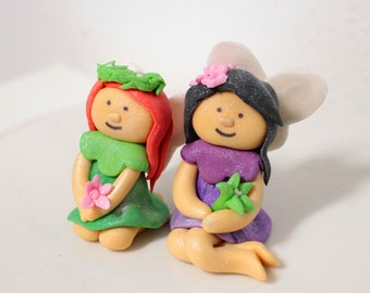 Fondant Girl Fairy with wings Choose your colors 1 qty check picture for garden party, fairy birthday party, wizard party