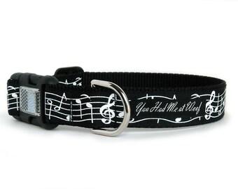 Music Notes Dog Collar, Boy, Girl Dog Collar, Personalized, Reflective, Musician, Big Dog Collar, Gift Box Included- Mozart