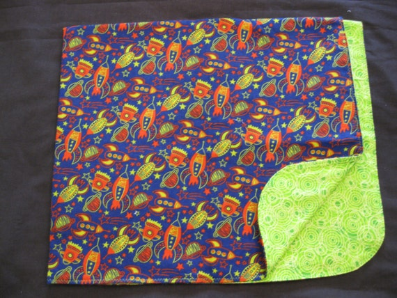 Space ship planets flannel baby blanket double sided for Space flannel