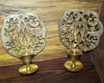 Brass Wall Sconces Ornate Brass Sconces Vintage Brass Candle Holders