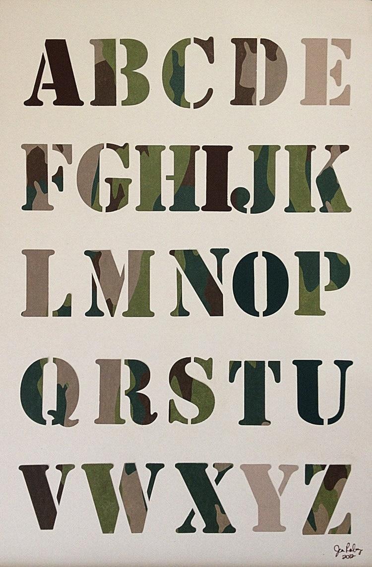 Camouflage Hidden Vowels Handmade Alphabet By