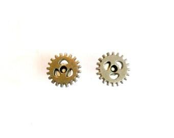 Steampunk Gear Stud Earrings silver gear post earrings Handmade Gift