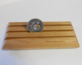 Military Challenge Coin Display Rack, Coin Holder, Solid Cherry