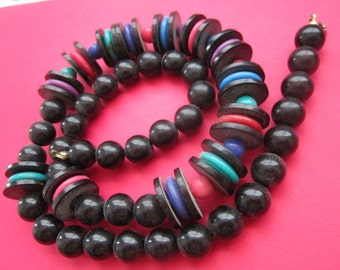 60s Vintage Mod Hippie Lucite Colorful & Brown Necklace  2 Foot Long Broken Needs fixed