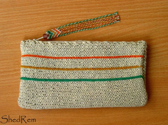 Knitting Pattern Makeup Bag : Knitting Cosmetic bag Zipper pouch Makeup bag by Shedrem on Etsy