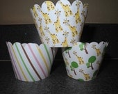 Giraffe Baby Shower Cupcake Wrappers  Set of 12  Celebration