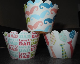 Fathers Day Dad Cupcake Wrappers  Set of 12 Mustche Tie Dad Daddy