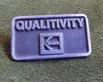 Vintage Kodak Qualitivity Pin, Pewter looking, hat, lapel, clothing pin advertising use of Kodak Brand