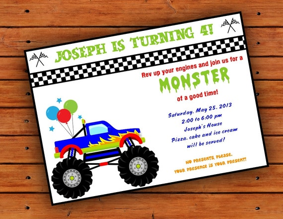 Items Similar To Monster Truck Party Invitation 4x6 Or 5x7