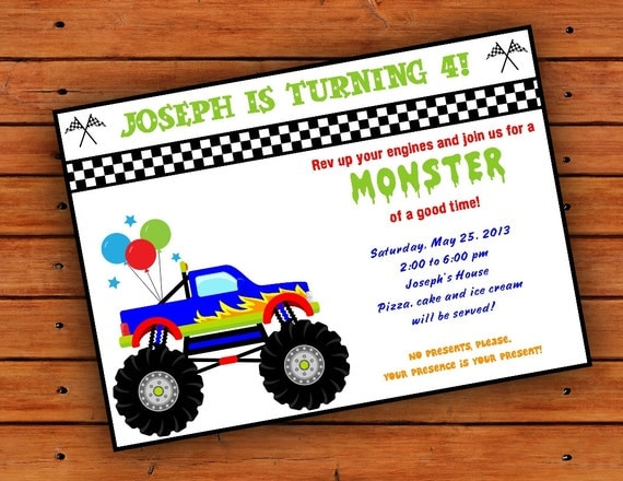 monster truck party invitations – gangcraft, Party invitations