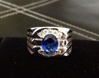 Silver Ring Natural Gemstone Blue Sapphire Quartz