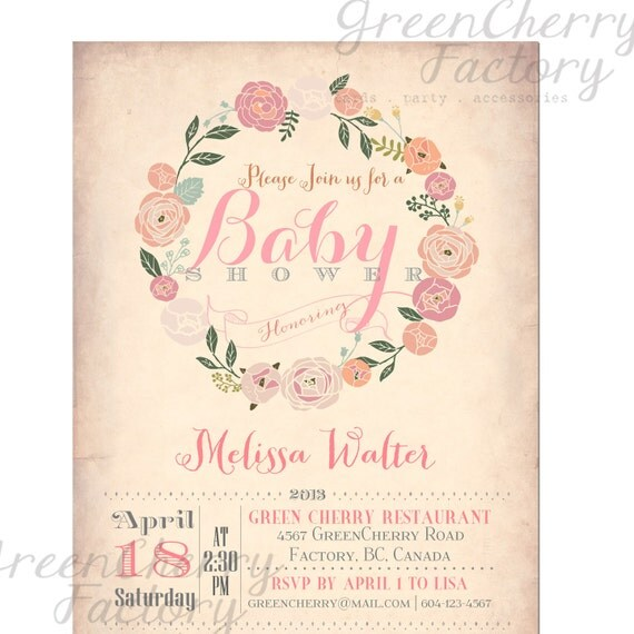 Vintage Baby Shower Invitations Girl: Items Similar To Baby Shower Invitation