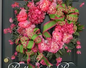 Reserved Listing for  bailey0370 Pink & Green Summer Wreath