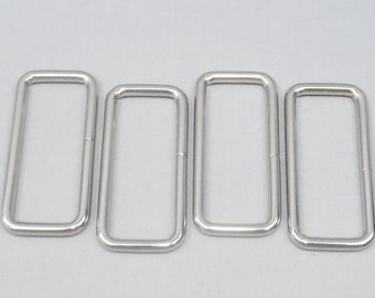 10 Silver 2 Inch (51mm) Zinc Alloy Rectangle Rings