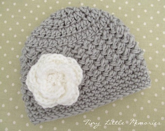 Baby Crochet Flower Hat, Gray and White Baby Hat, Crochet Beanie Hat with Flower, Color Choice, Made to Order, Newborn, Up to 12 Months
