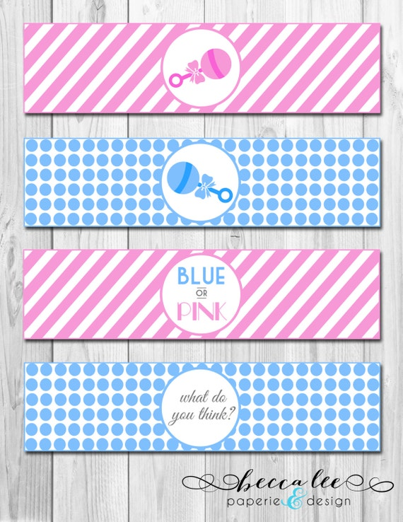 INSTANT DOWNLOAD - Blue or Pink What Do You Think Baby Shower Gender Reveal Water Bottle Labels - DIY - Printable