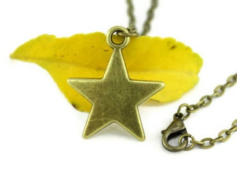 Bronze Star Necklace, Star Necklace, Star Jewelry, Minimalist Necklace, Lucky Star Necklace, Star pendant Jewelry, Modern Minimalist Jewelry