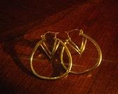 Reserved for brandnameforless Vintage 10K Yellow Gold Orbit Hoop Hinged Post Earrings