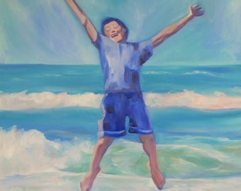 "Ocean Boy, original oil on canvas, beach, ocean, jump for joy, large painting, 36"" high x 24"" wide"