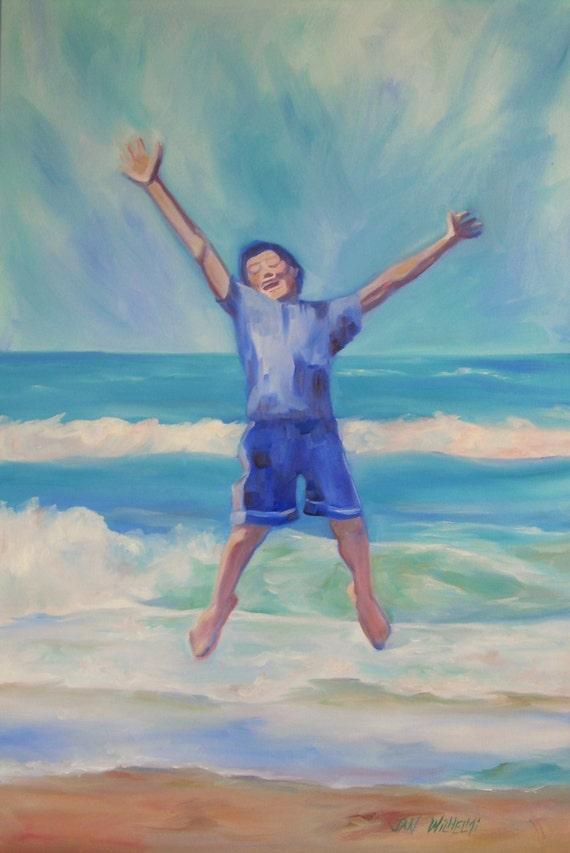 Ocean Boy Original Oil On Canvas Beach Ocean Jump For Joy