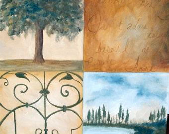 """12""""x 12"""" Painting entitled """"Parisian Quartet"""""""