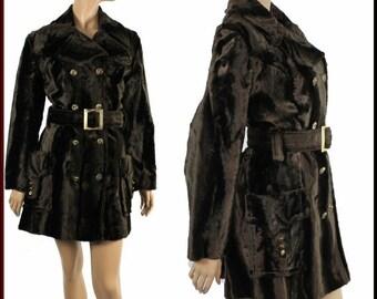 Vintage 1960s Coat Faux Fur Designer Double Breasted Princess Coat Jacket Brown Mad Man Garden Party Rockabilly Retro Femme Fatale
