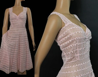 Vintage 1950s Dress Pink Rockabilly Garden Party Mad Man Couture Pinup Bombshell Femme Fatale Full Circle