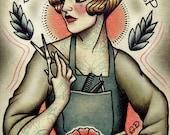 Barber Girl Tattoo Art Print
