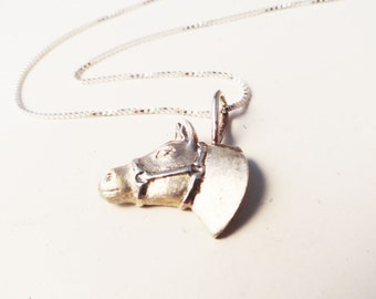 Sterling Silver Horse Head Necklace - N0078