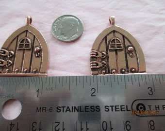 2 Copper tone Fairy Doors  for Jewelry Making,  Listing B20115