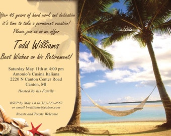 """vacation theme Retirement Invitation """"EACH"""" (WITH ENVELOPES)"""