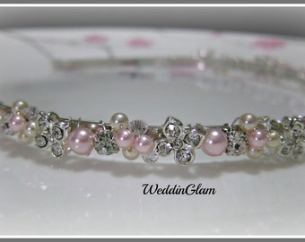 Wedding headband, bridal hair accessory, rhinestone flower pearl headband, little girl pink pearl tiara, wedding tiaras, flowergirl headband