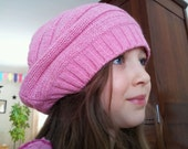 Eco-Chic PINK OOAK, Amazingly Soft, Recycled, UpCycled Knit Sweater Boho Slouchy Hat, Beret, Dreads Beanie, Cap, Tam