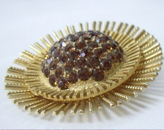 Vintage Root Beer Brown Rhinestone Clustered Sun Burst Brooch Pin