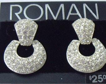 Roman High End Pave White Rhinestone Dangle Hoop Earrings