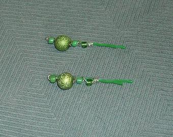 Green Beaded Bobby Pins