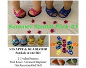 PDF CROCHET PATTERN - Summer Sandal Pack 1 -  Strappy & Gladiator Sandals Pattern for American Girl Dolls- Instant Download