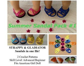 PDF CROCHET PATTERN - Summer Sandal Pack 1 -  Strappy & Gladiator Sandals Pattern for American Girl Dolls- Instant Download