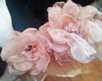 Antique-Look Beaded Organza Flowers